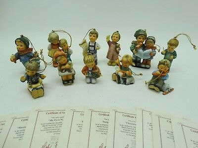 Goebel Berta Hummel 1997 Lot of 11 Christmas Ornament with COAs
