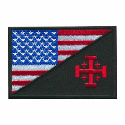 Tactical USA Flag / Jerusalem Cross Embroidered Patch