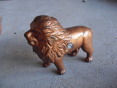 """Antique Cast Iron Braonze Painted Lion Penny Bank 4"""" Tall"""