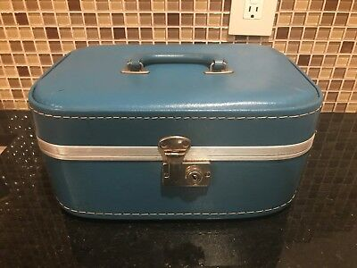 Vintage Retro Hard Shell American Tourister Suitcase Train Case Blue