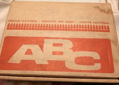 Vintage Wood Wooden Alphabet Capital Letters Creative Playthings ABC's In Box
