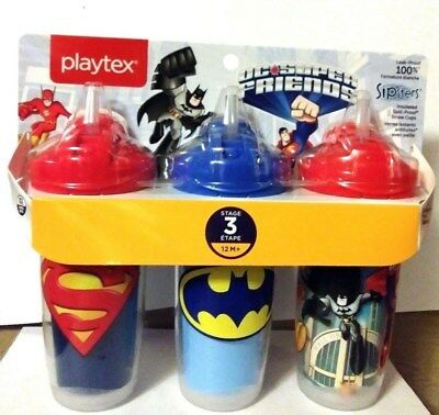 Playtex Sipsters BATMAN & SUPER MAN  3 Stage 3 Pack 9 Ounce Insulated Straw Cup