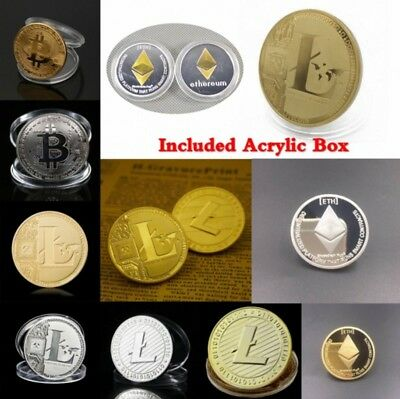 Bitcoin!Litecoin!Ethereum Coin! Gold Silver Plated Collectible Miner Art Gift jc