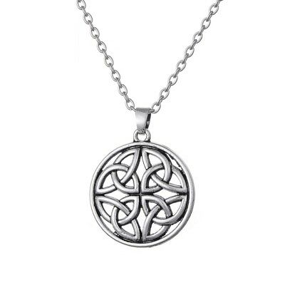 Antique silver alloy good luck Irish Celtic Knot Round Pendant Necklaces