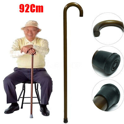 AU 92cm Wooden Walking Stick Cane Pole Non-slip Crook Handle Sturdy Deluxe Brown