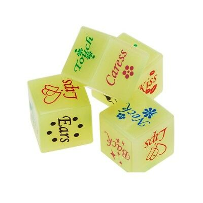 2 x Sex Dice Glow In The Dark Pair Couples Bedroom Game Adult Valentines Gifts