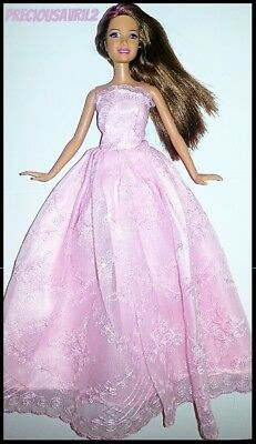 Barbie Doll Clothes Pink Embroidered Evening Dress/Party/Clothes/Outfit/New