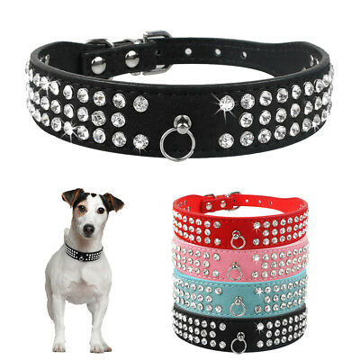 3 Rows Rhinestone Suede Leather Dog Collar Bling Crystal for Small Medium Dogs