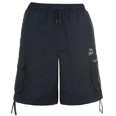 Mens Lonsdale Cargo Shorts Boxing Gym Training Knee Length  ~ Navy Stripe