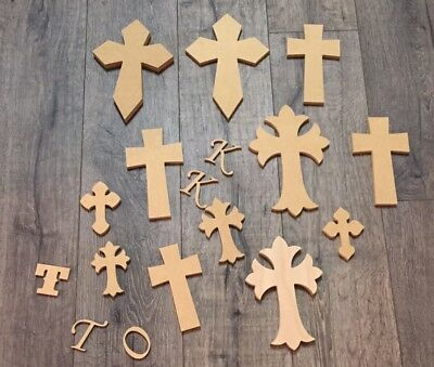Large Lot Of 12 Pressboard Crosses For Crafting /5 Letters