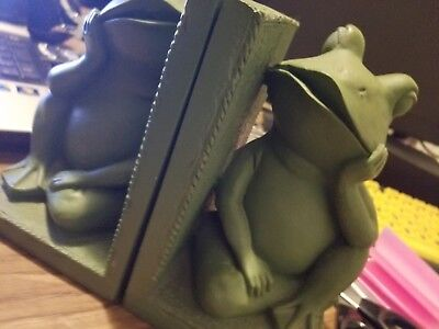 Bookends - Frog Bookends - Frog Book Ends- Used-Green Frog Bookends-Cute Frogs