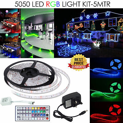 5M Waterproof RGB LED Strip 5050 Light Power Supply Adapter 44Key IR Remote Kit
