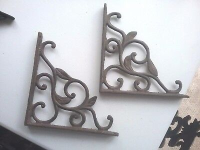"A Pair of Black Cast Iron Fancy Scroll Shelf Wall Brackets  8 1/2"" x 8 1/2 """