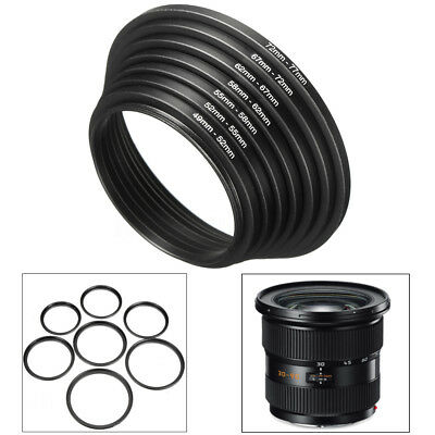 7Pcs/Set 49-52-55-58-62-67-72-77mm Metal Step Up Rings Lens Adapter Filter Set