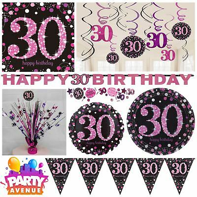 Pink Sparkling Celebration 30th Birthday Party Tableware Decorations Balloons