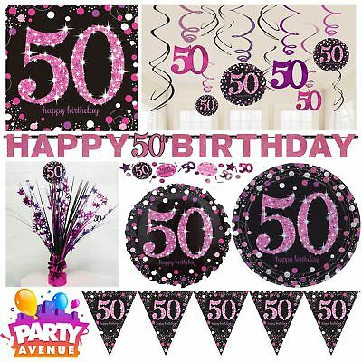 Pink Sparkling Celebration 50th Birthday Party Tableware Decorations Balloons