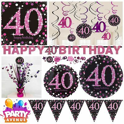 Pink Sparkling Celebration 40th Birthday Party Tableware Decorations Balloons