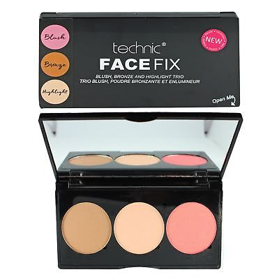 Technic Face Fix Blusher Bronzer Highlighter Make Up Face Powder Trio Palette