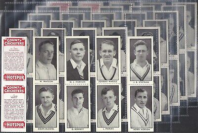 Thomson (Dc)-Full Set- County Cricket Ers (In Pairs As Issued 64 Cards) - Rare!