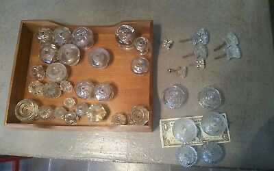 HUGE LOT OF 38 TRUE VINTAGE/ANTIQUE GLASS DRAWER PULLS UNIQUE Large & Small