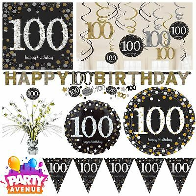 Gold Sparkling Celebration 100th Birthday Party Tableware Decorations Balloons