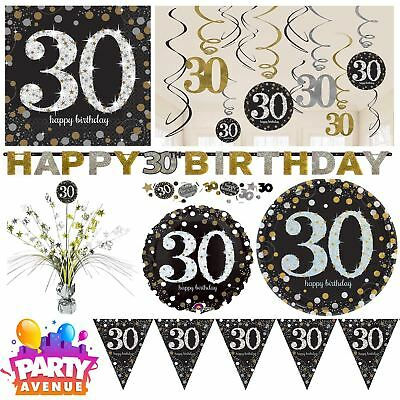 Gold Sparkling Celebration 30th Birthday Party Tableware Decorations Balloons