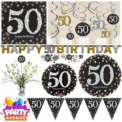 Gold Sparkling Celebration 50th Birthday Party Tableware Decorations Balloons