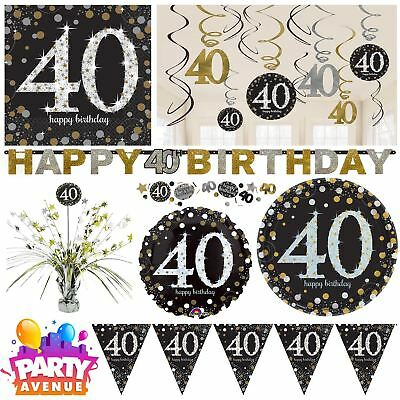 Gold Sparkling Celebration 40th Birthday Party Tableware Decorations Balloons