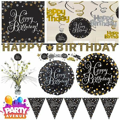 Gold Sparkling Celebration Happy Birthday Party Tableware Decorations Balloons