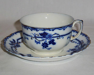 Johnson Brothers Oxford Pattern Flow Blue Cups & Saucers (No Crazing)