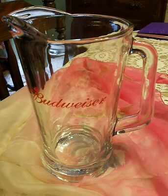 """BUDWEISER ♡ HEAVY SOLID GLASS BEER PITCHER ♡ 8.75"""" Tall ♡ SINGLE SIDED LOGO"""