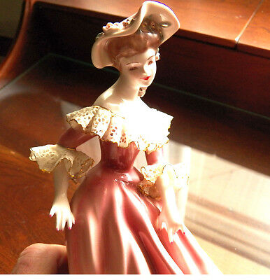 Florence Ceramics Musette Figurine Royal Red Dress 8.25 Inches