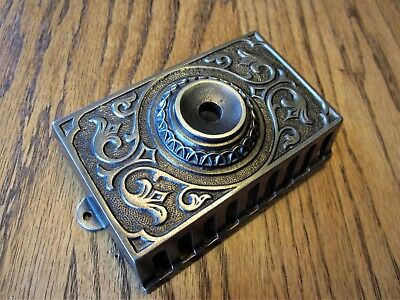 MINT! Ornate Victorian Cast Iron Wall Mount Door Bell Eastlake Doorbell Button