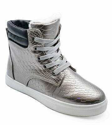 2cb3bcc978f Ladies Flat Pewter Warm Fleece-Lined Hi-Top Trainer Comfy Ankle Boots Shoes  3