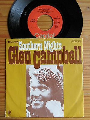 """7"""" GLEN CAMPBELL : SOUTHERN NIGHTS / WILLIAM TELL OVERTURE  Vinyl Country 1977"""