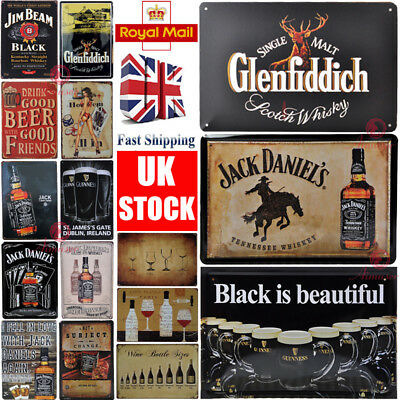 Beer Plaque for GLENFIDDICH JACK DANIELS GUINNESS Metal Signs pub bar man cave