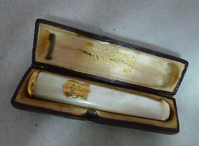 Antique French 18ct Gold & Mother Of Pearl Cigarette Holder Cased A631317