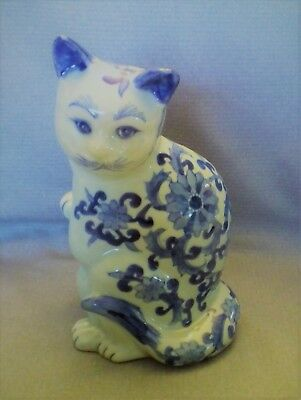"""VTG Large Chinese Porcelain Cat Decor; 8""""tall, Blue & White, Hand painted Signed"""