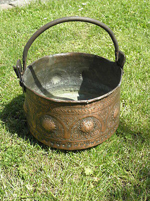 Antique Solid Copper Cauldron pan Pot Vintage Old Cooking hand forged french