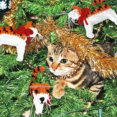 Orange Tabby Cat Christmas Tree Ornaments Hand Knit Chilly Dog - Set of 3