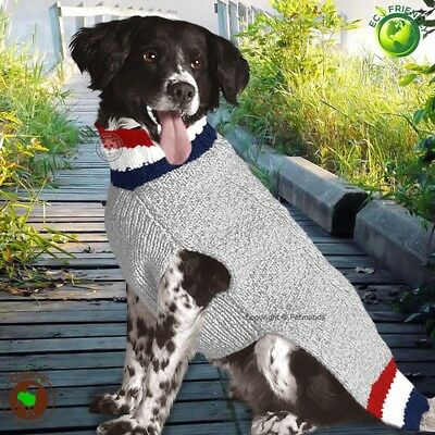 Chilly Dog Sweater Patriot Cable Knit Handmade Wool L [28-40 lbs] NEW