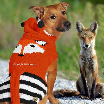 Knit Dog Hoodie Fox Wool Sweater Chilly Dog Handmade XXS - XXXL [2-120 lbs] 2018