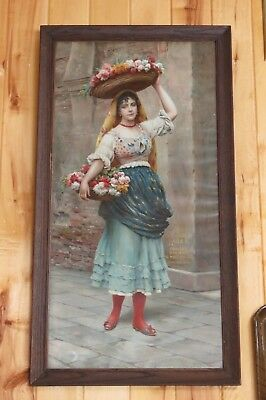 """Rare 1907,""""Blue & Gold Lager"""",Oakland Brewing,Meek Advertising Sign,Pretty Lady"""