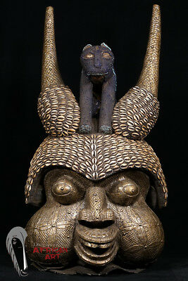 """Large Bamun Beaded and Bronzed Helmet Mask 31""""- Cameroon - African Art"""