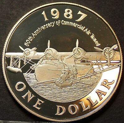 Bermuda Dollar, 1987, 50th Anniversary of Commercial Aviation~SILVER PROOF~FR/Sh