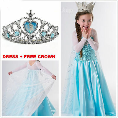 FROZEN BLUE ELSA Princess Costume Queen Cosplay Girls Fancy Train Dress Crown A6
