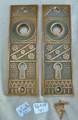 "Door knob back plates (pair) Eastlake Cast Bronze 5 1/8 x 1 1/8"" (per pair)"