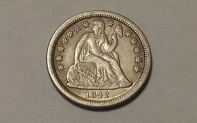 1842 Seated Liberty  SILVER DIME XF Detail US Coin 10c