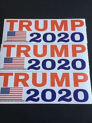 "(Lot of 3)  TRUMP 2020 Bumper Stickers ReElection POTUS 11 1/2"" X 3 3/4"""