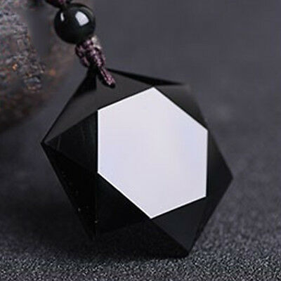 Natural Hexagon Obsidian Stone Pendant Necklace Long Chain Women Men Jewelry